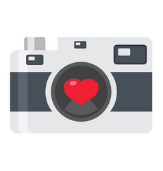 Love camera flat icon valentines day and romantic vector