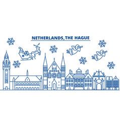 Netherlands the hague winter city skyline merry vector