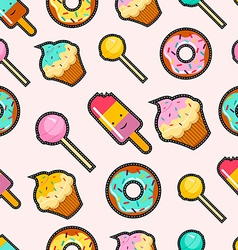 Pink candy stitch patch style seamless background vector