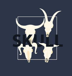 Poster with skulls of animals vector