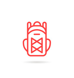 red linear unisex backpack icon vector image