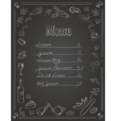 Restaurant Food Menu Design with Chalkboard vector image vector image