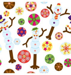 seamless pattern of snowman vector image