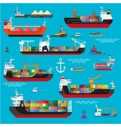 Ships boats cargo logistics transportation and vector