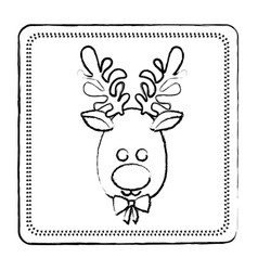Sketch frame of christmas reindeer face vector