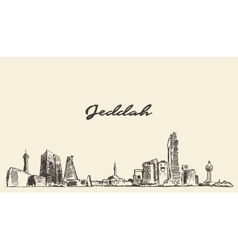 Sketch jeddah skyline drawn vector