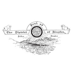the united states seal of the district of alaska vector image