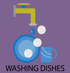 Washing dishes design flat vector