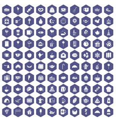 100 tea party icons hexagon purple vector