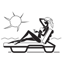 Beautiful girl sitting on the lounge on the beach vector