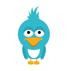 Blue caricature bird animal with closed wings vector