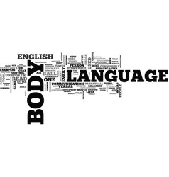 What is body language text word cloud concept vector