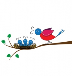 Bird and nestlings vector