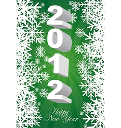 2012 green card with snowflakes background vector