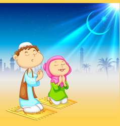 Kids offering namaaz for eid celebration vector