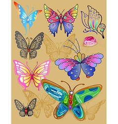 Tattoo butterfly jewellery set print cloth vector