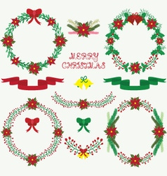 Christmas floral collections vector