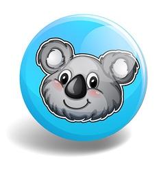 Cute koala bear head on badge vector image