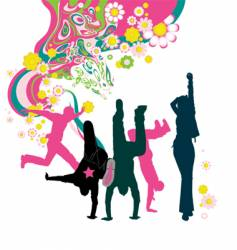 Dancing young people floral background vector
