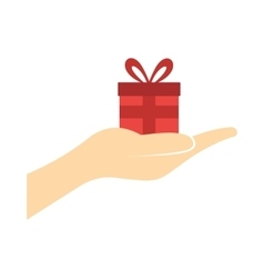 Small gift red box in a hand flat icon vector