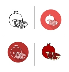 Pomegranate flat design linear and color icons vector image