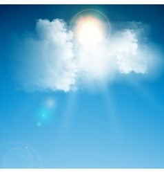 Realistic blue cloud with sun vector