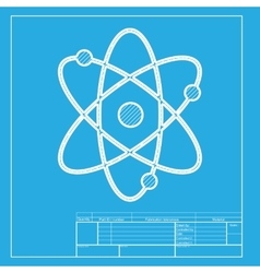 Atom sign  white section of icon on vector