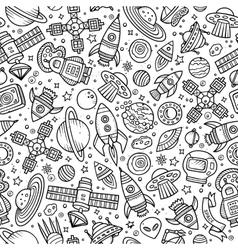 Cartoon hand-drawn space planets seamless pattern vector