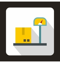 Scales for weighing with box icon flat style vector