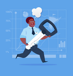 African american business man holding key safe vector