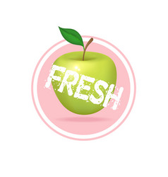 Apple label design fresh fruit juice sticker vector