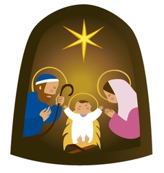 Baby Jesus in a manger vector image
