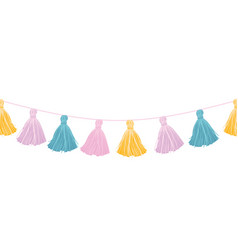 colorful pastel hanging decorative tassels vector image vector image
