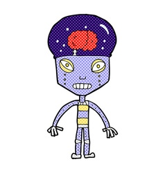 Comic cartoon weird robot vector
