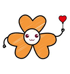 Cute flower kawaii character vector