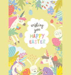 cute frame composed of easter bunniesunicorns and vector image vector image