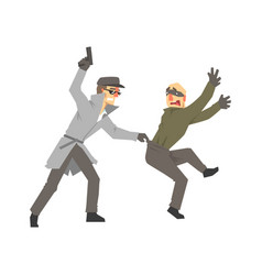 detective character with gun detaining suspect vector image