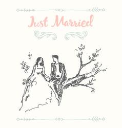 draw bride groom sitting tree branch sketch vector image