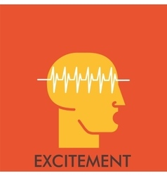 Excitement line icon with flat design elements vector