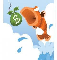 fish eat money vector image vector image