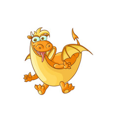 Flat cartoon dragon with horns wings vector