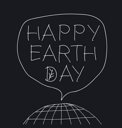 Happy earth day greeting lettering in speech vector