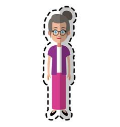 Happy elderly woman cartoon icon image vector