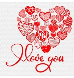 I love you and doodle heart vector image