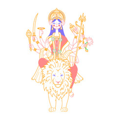 Icon of goddess durga on a lion vector