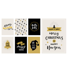 merry christmas hand drawn cards vector image vector image