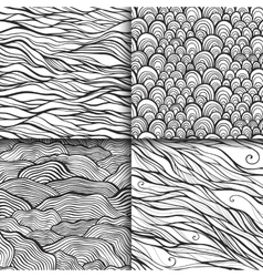 Neutral monochrome doodle seamless patterns set vector