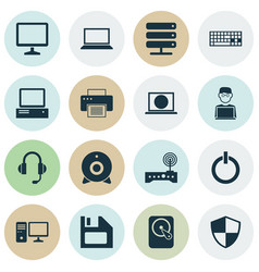 Notebook icons set collection of desktop defense vector