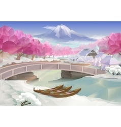 Pink grove landscape vector image vector image