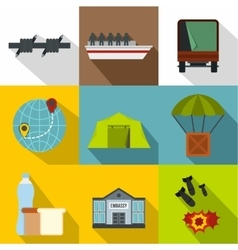 Refugees icons set flat style vector